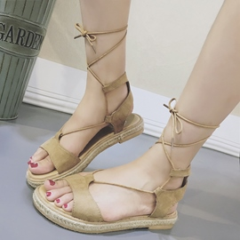 Ericdress Unique Open Toe Lace up Flat Sandals