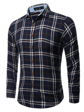 Ericdress Color Block Casual Men's Plaid Shirt