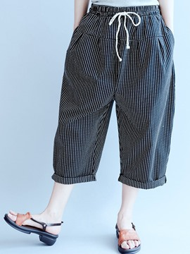 Ericdress Stripe Pocket Lace-Up Mid-Calf Wide Legs Girls Pants