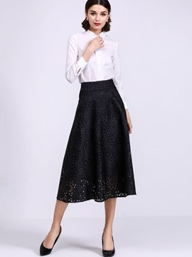 Ericdress Sishot Long Sleeve Hollow Expansion Skirt Suit