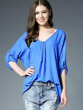 Ericdress Loose V-Neck Zipper T-Shirt