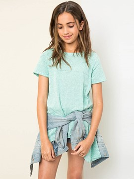 Ericdress Stripe Asymmetric Loose Mid-Length Girls T-Shirt