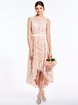 Ericdress Sweet Bateau Asymmetry A Line Lace Bridesmaid Dress