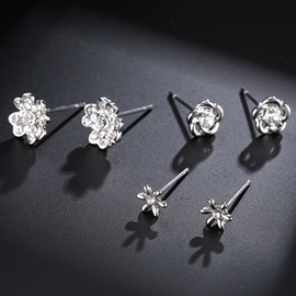 Ericdress Rhinestone Flowers Three-Pieces Alloy Stud Earrings