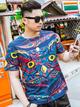 Ericdress Plus Size Casual Print Men's T-Shirt