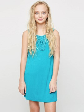 Ericdress Plain Hollow Sleeveless Above Knee Dress