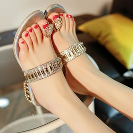 Ericdress Glittering Rhinestone Toe Ring Mules Shoes
