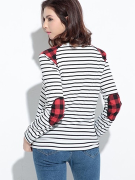 Ericdress Stripped Color Block Patchwork Casual T-Shirt