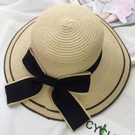 Ericdress Large Bowknot Decorated Wide Brim Sun Hat