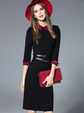 Ericdress Collar Block Lapel Patchwork Sheath Dress