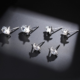 Ericdress Stars with Rhinestone Three-Pieces Stud Earrings