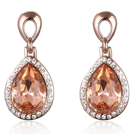 Ericdress Champagne Water Drop Shaped Crystal Pendant Earrings