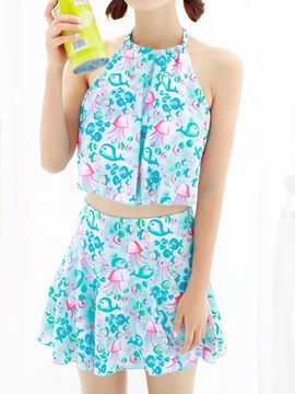 Ericdress Loveable Color Block Print Swimwear