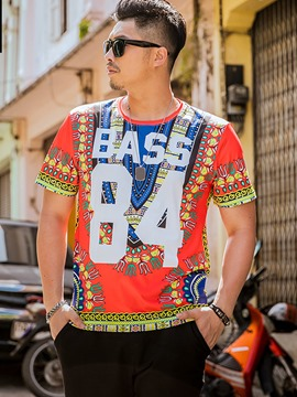 Ericdress Colorful Unique Print Plus Size Casual Men's T-Shirt