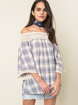 Ericdress Slash Neck Plaid Blouse