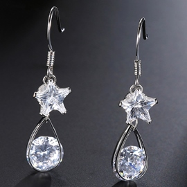 Ericdress Stars and Water Drop Design Women's Zircon Earrings