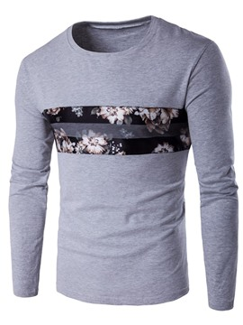 Ericdress Chest Floral Patched Casual Men's T-Shirt