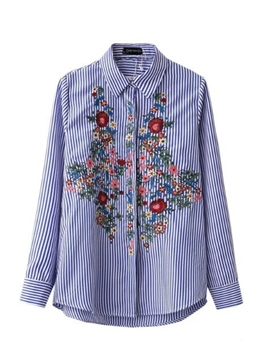 Ericdress Floral Embroidery Lapel Stripe Blouse