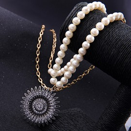 Ericdress Sun Flower Diamante Pendant Long Artificial Pearl Necklace