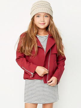 Ericdress Epaulet Zipper Plain Lapel Girls Jacket