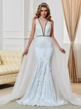 Ericdress Sexy Illusion Neckline Appliques Backless Mermaid Lace Wedding Dress