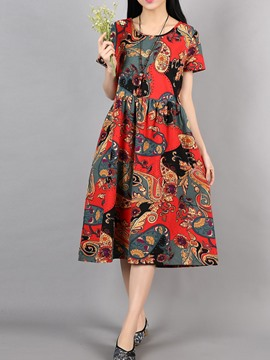 Ericdress Pleated Floral Patchwork High-Waist Casual Dress