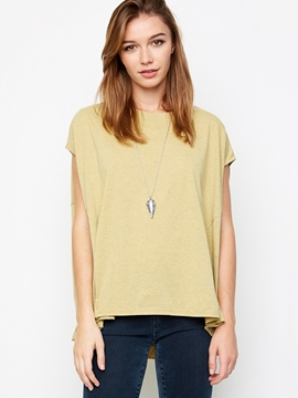 Ericdress Plain Patchwork Sleeveless T-Shirt