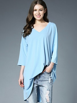 Ericdress V-Neck Mid-Length T-Shirt