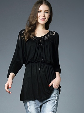 Ericdress Ladylike Hollow Nine Points Sleeve T-shirt