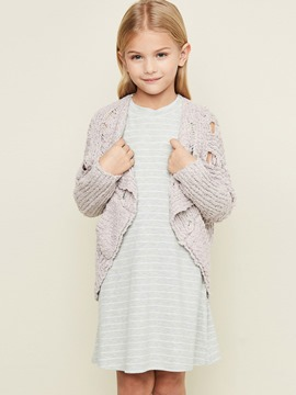 Ericdress Hollow Asymmetric Wrapped Cardigan Girls Sweater