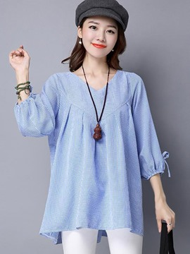 Ericdress Casual Loose V-Neck Blouse
