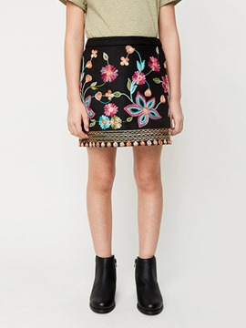 Ericdress Embroidery Floral High-Waist Mini Skirt