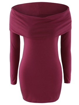 Ericdress Slim Solid Color Slash Knitwear