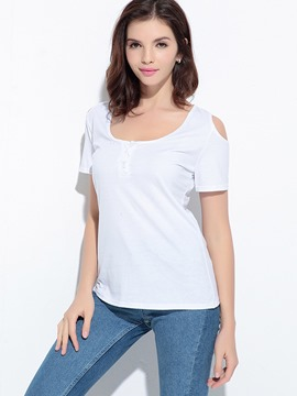 Ericdress Casual Plain Off-Shoulder T-Shirt