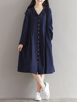 Ericdress Notched Lapel Single-Breasted Pleated Pocket Casual Dress