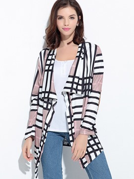 Ericdress Geometric Pattern Patchwork Cardigan Knitwear