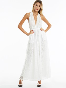 Ericdress White Sleeveless V-Neck Women's Jumpsuits