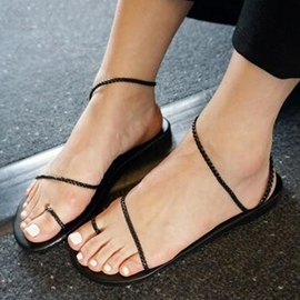 Ericdress Roman Kintting Toe Ring Flat Sandals