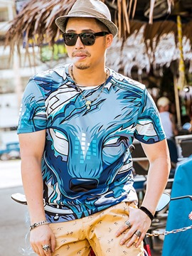 Ericdress Plus Size Short Sleeve Unique Casual Men's T-Shirt