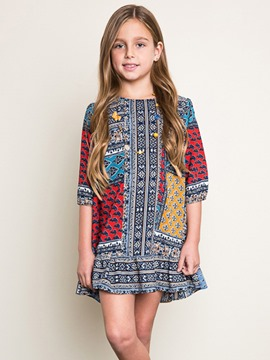 Ericdress Ruffles Print Bohemian Half Sleeves Dress