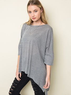 Ericdress Loose Plain Asymmetric T-Shirt