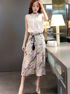 Ericdress Stand Collar Sleeveless Tassel Lace-Up Floral Wide Legs Suit