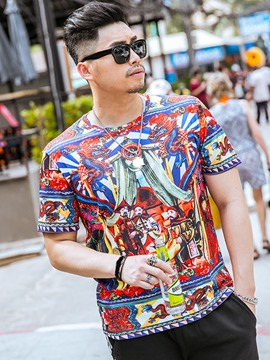 Ericdress Plus Size Colorful Unique Print Casual Men's T-Shirt