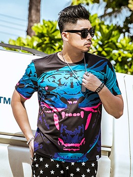 Ericdress Plus Size Unique Print Casual Men's T-Shirt