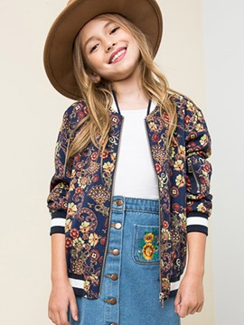 Ericdress Floral Pocket Zipper V-Neck Girls Outerwear