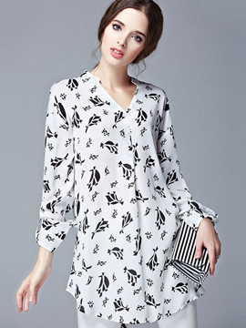 Ericdress Loose Chiffon Printed Plus Size Blouse