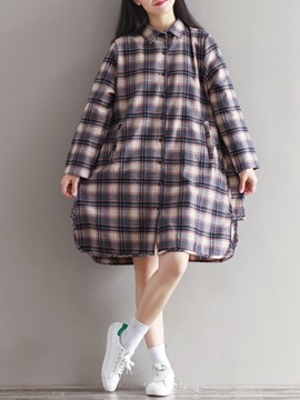 Ericdress Plaid Patchwork Single-Breasted Lapel Casual Dress