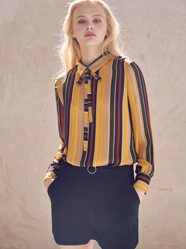 Ericdress Lapel Stripe Long Sleeve Blouse
