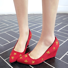 Ericdress Star Print Point Toe Wedges
