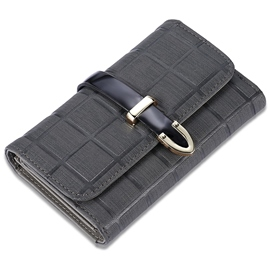 Ericdress Simple Black Plaid Draw String Wallet
